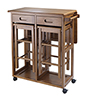 Space Saver Drop Leaf Kitchen Table with 2 Stools