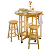 Space Saver, Drop Leaf Table with 2 Round Stools by Winsome Trading