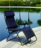 Faulkner Black Padded Deck & Patio Folding Lounge Chair