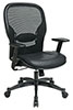 Office Star Space Chair 2400 - Mesh Chair with Leather Seat