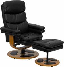 Contemporary Leather Recliner and Ottoman with Wood Base